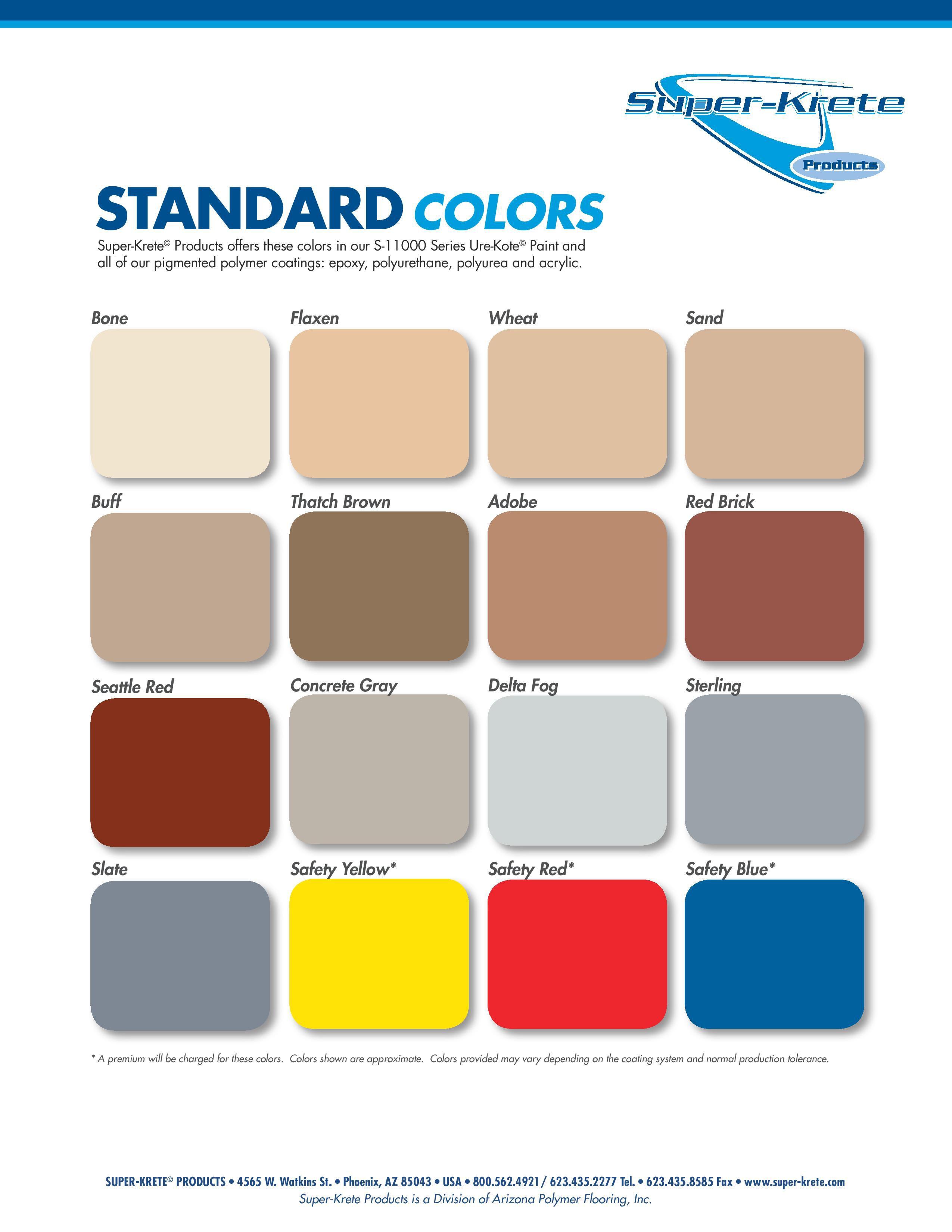 Dpf Color Charts Desert Polymer Flooring Inc