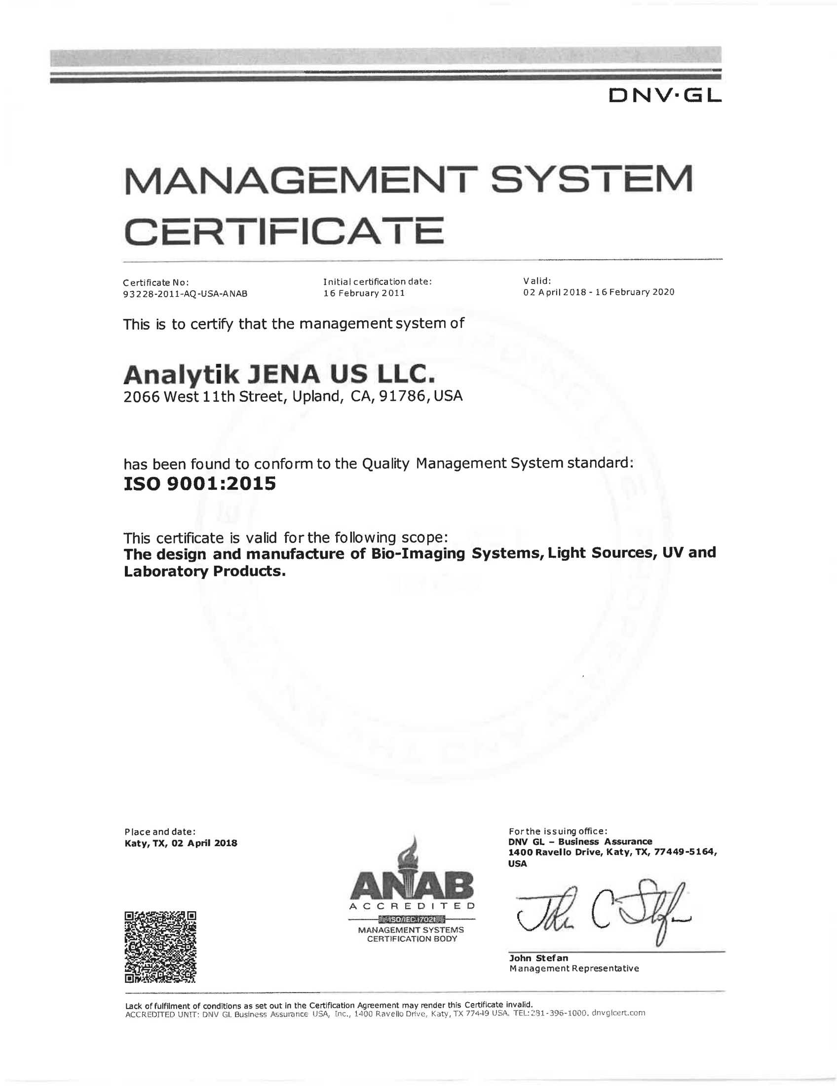 Iso Certification Analytik Jena Us Llc