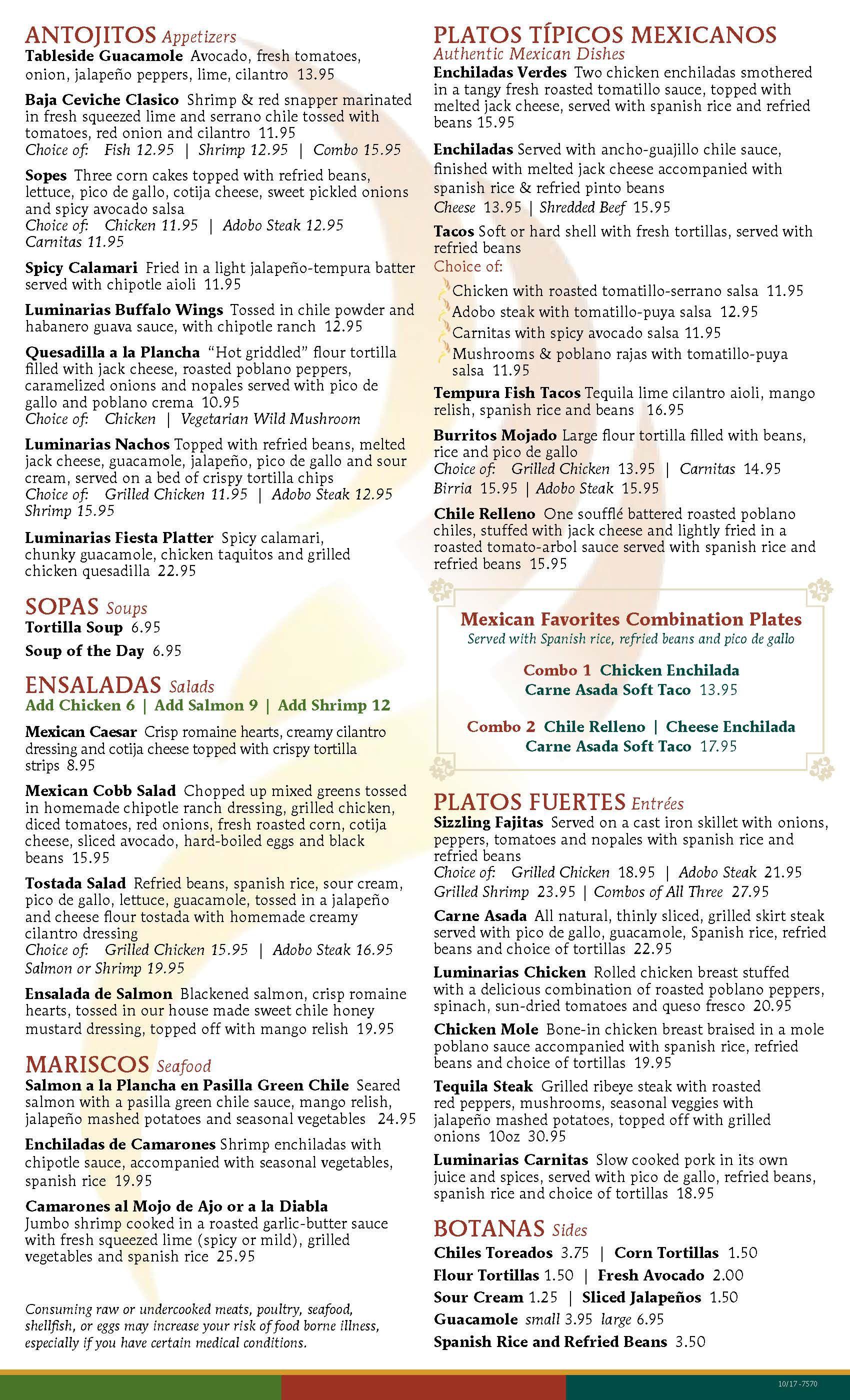 Lunch & Dinner Menu - Luminarias Restaurant