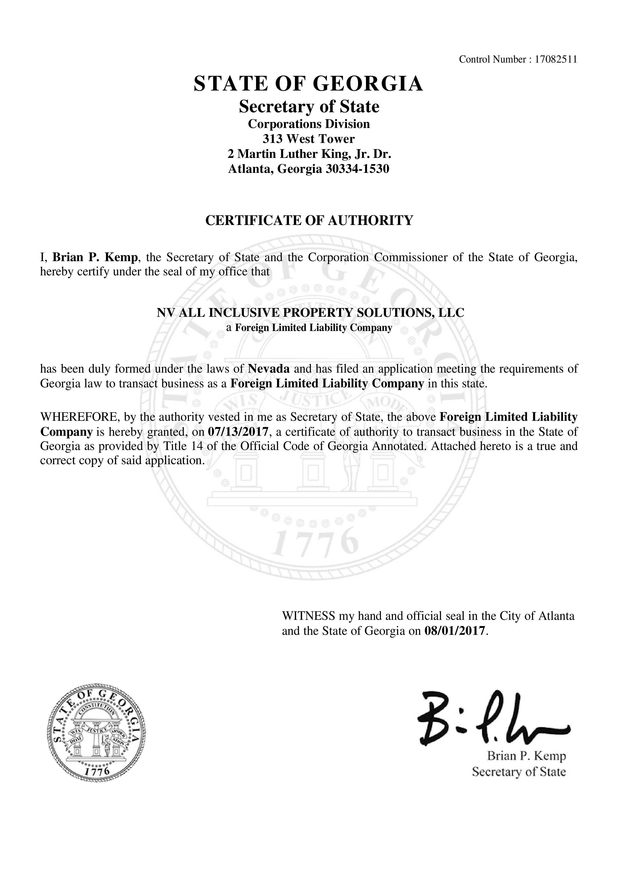 Certifications freedom group realty certificate 25 state of georgia certificate of authority xflitez Gallery
