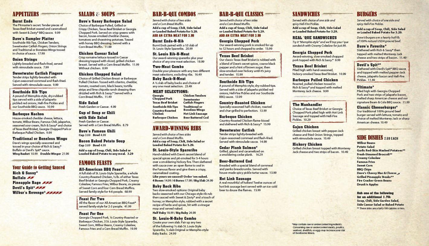 menu - famous dave's