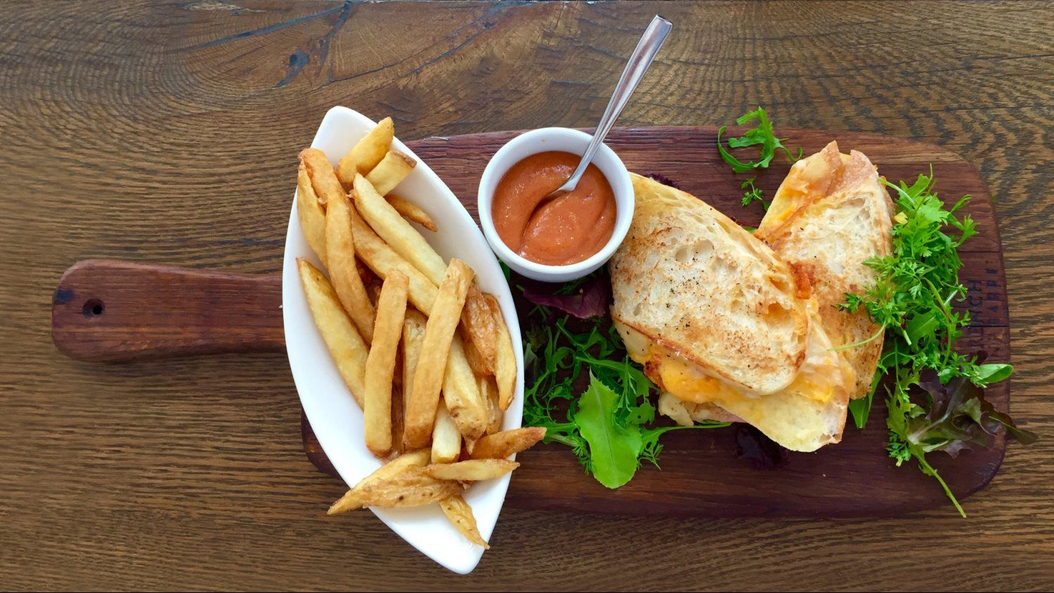 healthy sandwich and fries