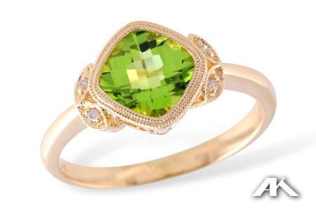 Peridot and Diamond Yellow Gold Ring